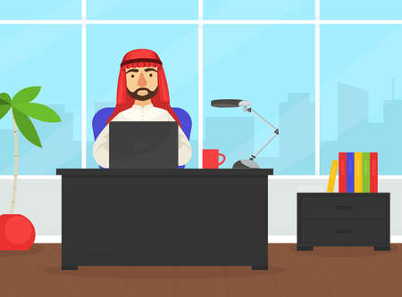 Arab Businessman Sitting at Office Desk Working Laptop Computer, Arabic Office Worker Character Wearing Traditional Muslim Clothing Flat Vector Illustration Ilustracja