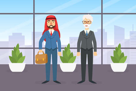 Arab and European Businessmen Having Meeting in Office on Background of Cityscape with Skyscrapers, Partnership, Business Meeting Flat Vector Illustration