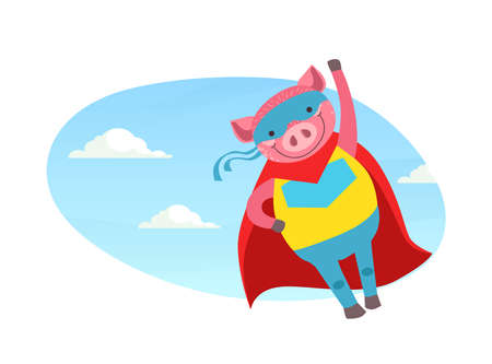 Funny Pig Superhero Character in Mask and Red Cape Cartoon Vector Illustration Ilustracja