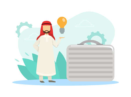 Arab Businessman Holding Light Bulb Standing with Huge Briefcase, Startup and Investment in Innovative Ideas Concept Flat Vector Illustration