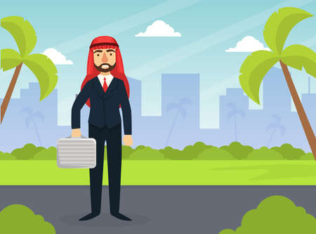 Arab Businessman Standing with Briefcase on Background of Cityscape with Skyscrapers Flat Vector Illustration