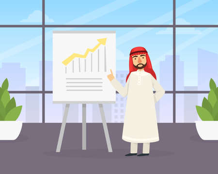 Arab Businessman Making Presentation Explaining Charts on White Board, Arabic Office Worker Character Wearing Traditional Muslim Clothing Flat Vector Illustration