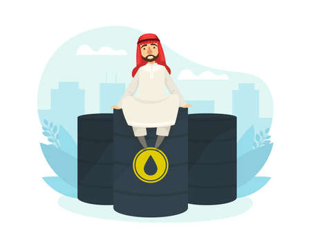 Arab Office Worker Character Wearing Traditional Muslim Clothing Sitting on Top of Oil Barrel Flat Vector Illustration