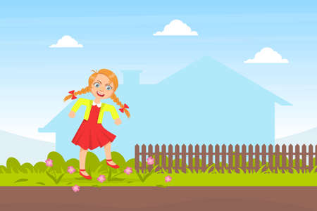 Bully Girl Treading Down Flowers in Meadow, Kids Aggressive Behavior Cartoon Vector Illustration