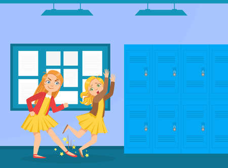 Agressive Girl Tripped Her Classmate, Bullying and Mocking at School Cartoon Vector Illustration