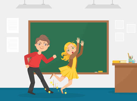 Agressive Boy Tripped His Classmate, Bullying and Mocking at School, Conflict between Children Cartoon Vector Illustration