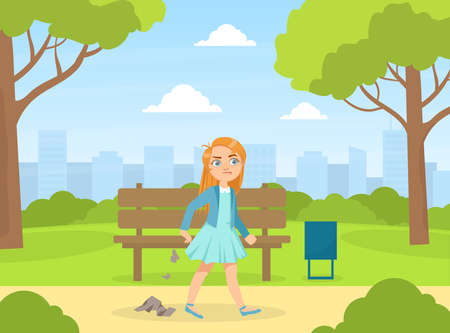 Bully Girl Littering in the Park, Kids Aggressive Uncontrollable Behavior Cartoon Vector Illustration
