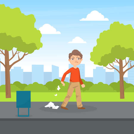 Bully Boy Littering in the Park, Kids Aggressive Uncontrollable Behavior Cartoon Vector Illustration