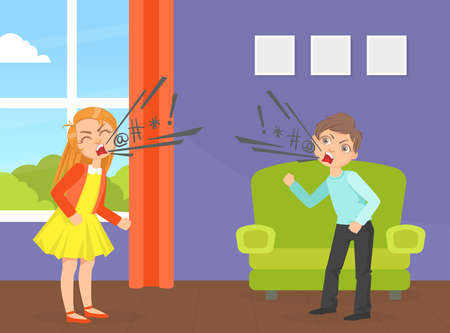 Children Quarreling and Swearing, Aggressive Boy and Girl Yelling at Each Other, Conflict between Kids Cartoon Vector Illustration Ilustracja