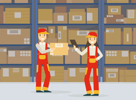 Warehouse Indoor Space with Goods on Shelf and Professional Workers in Uniform, Storage, Distribution and Delivery Service Flat Vector Illustration Ilustracja