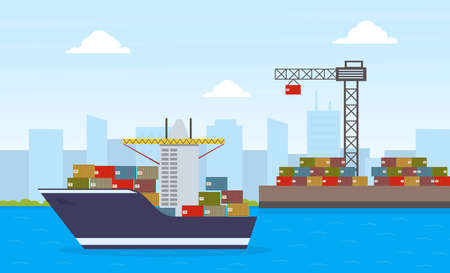 Cargo Ship Container and Working Crane, Maritime Shipping Freight Transportation, Cargo Logistics Flat Vector Illustration Ilustracja