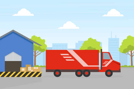 Cargo Service, Delivery Truck and Warehouse Building, Fast Delivery Service Concept Flat Vector Illustration