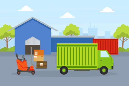 Cargo Service, Delivery Truck, Warehouse Building and Forklift Car Loading Cardboard Boxes, Fast Delivery Service Concept Flat Vector Illustration