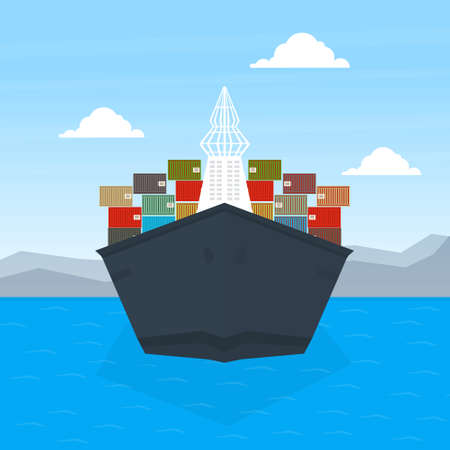 Front View of Cargo Ship Container, Maritime Shipping Freight Transportation, Cargo Logistics Flat Vector Illustration