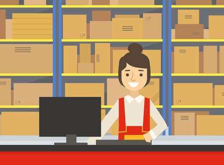 Warehouse Indoor Space with Goods on Shelf and Female Professional Workers in Uniform at Counter, Storage, Distribution and Delivery Service Flat Vector Illustration