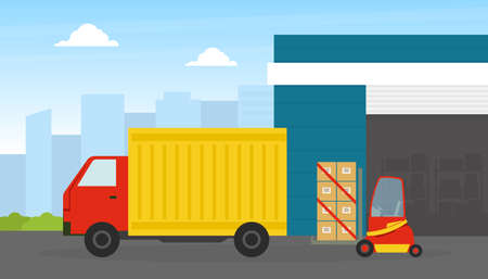 Delivery Truck, Warehouse Building and Forklift Car Loading Cardboard Boxes, Cargo and Fast Delivery Service Concept Flat Vector Illustration