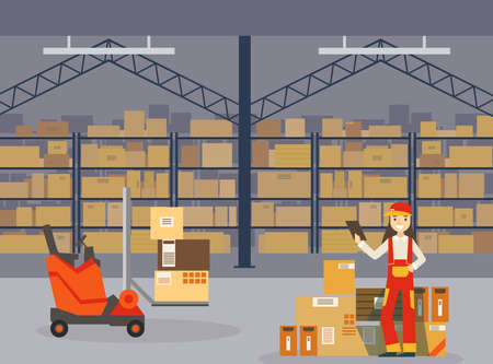 Warehouse Indoor Space with Goods on Shelf, Professional Workers in Uniform and Forklift Car, Storage, Distribution and Delivery Service Flat Vector Illustration