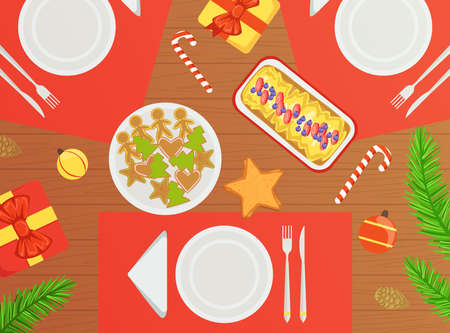 Top View of Holiday Festive Table, Traditional Christmas Dishes Flat Vector Illustration Ilustracja