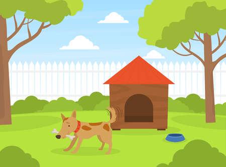 Cute Dog Gnawing Bone on Green Lawn Near Doghouse in Backyard, Beautiful Summer Landscape Flat Vector Illustration