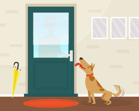 Cute Happy Dog Meeting its Owner at the Door Flat Vector Illustration Ilustracja