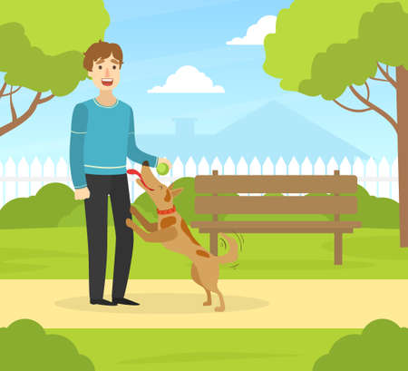 Young Man Walking with Dog in Summer Park in Sunny Day Flat Vector Illustration