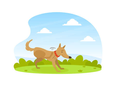 Cute Dog Scratching its Paw on Lawn in Backyard on Beautiful Summer Landscape Flat Vector Illustration Illustration