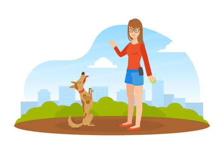 Girl Walking and Playing Ball with Dog in Park in Sunny Day, Summer Outdoor Activities with Pet Flat Vector Illustration