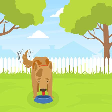Cute Dog Eating Dog Food on Lawn in Backyard on Beautiful Summer Landscape Flat Vector Illustration Illustration