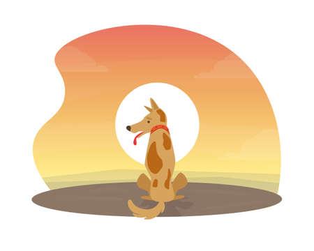 Cute Dog Sitting at Beautiful Sunset Flat Vector Illustration Illustration
