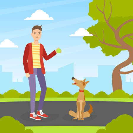 Young Man Walking and Playing Ball with Dog in Park in Sunny Day, Summer Outdoor Activities with Pet Flat Vector Illustration