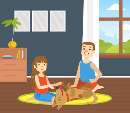 Children Playing with Cute Pet Animal at Home, Pet Domestic Animal and Happy Owners Flat Vector Illustration