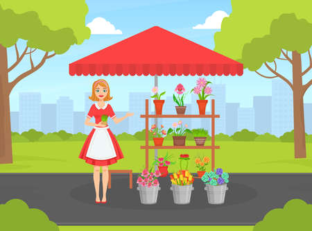 Beautiful Young Woman Florist in Apron Selling Bouquets of Flowers at Street Market Kiosk or Stand Flat Vector Illustration