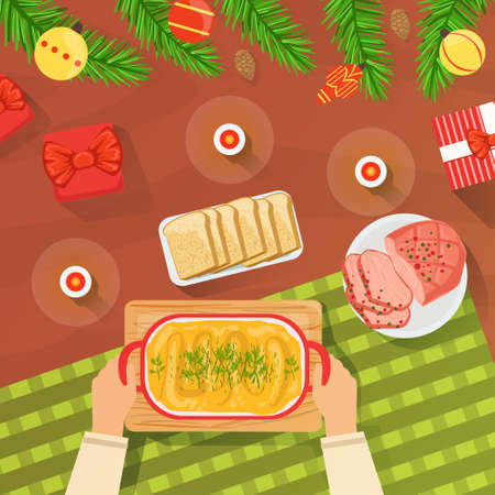 Top View of New Year and Christmas Table, Hands Serving Festive Dinner Table Flat Vector Illustration