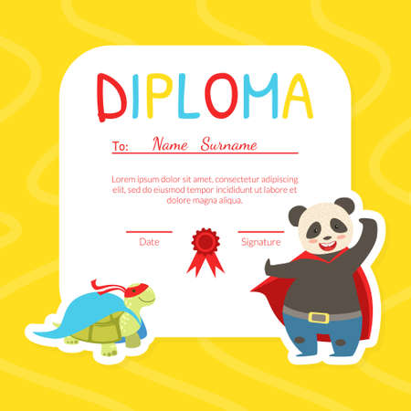 Kids Diploma Template with Place For Your Text, Preschool, Kindergarten Children Certificate with Cute Superhero Animals Vector Illustration .