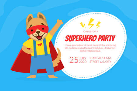 Join Us for a Superhero Party Invitation Card Template with Cute Funny Dog Character Cartoon Vector Illustration