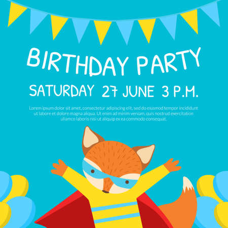 Birthday Party Invitation Card Template with Cute Funny Fox Character Cartoon Vector Illustration