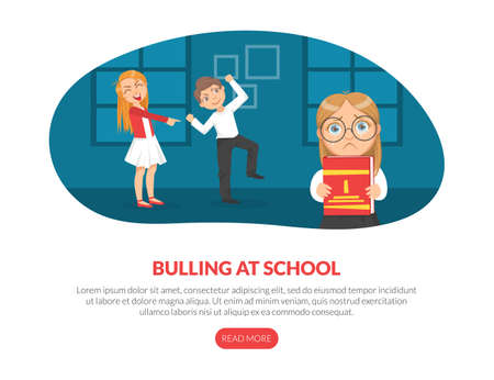 Bullying at School Landing Page Template, Persecution at School, Schoolmates Mocking of Unhappy Girl Cartoon Vector Illustration