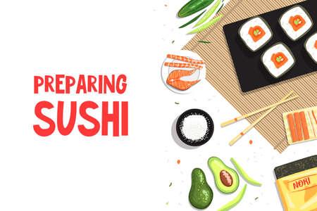 Preparing Sushi Banner Template, Asian Food, Sushi Restaurant, Bar Poster, Flyer, Certificate Flat Vector Illustration Vektorové ilustrace