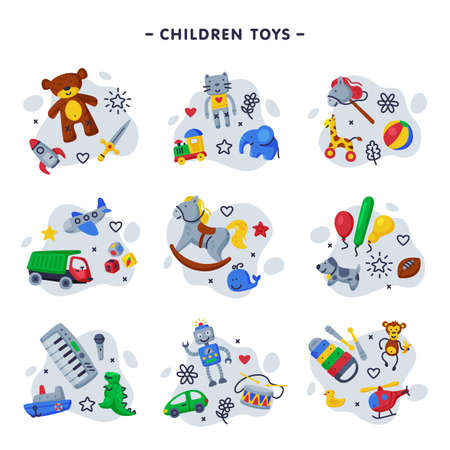 Children Toys Set, Various Objects for Kids Game Cartoon Vector Illustration