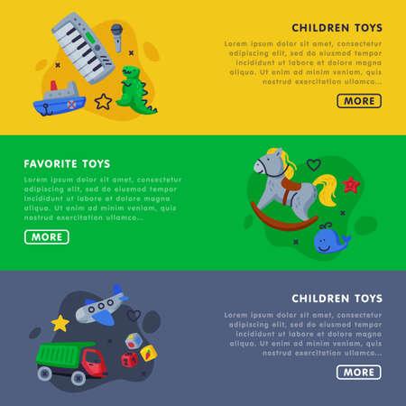 Children Favorite Toys Landing Page Templates Set, Kids Toy Shop, Club, Kindergarten or Playground Website, Homepage Vector Illustration