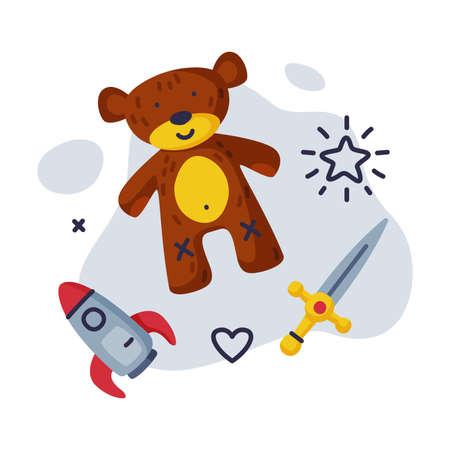 Sword, Teddy Bear Rocket Baby Toys Set, Kids Game Various Objects Cartoon Vector Illustration