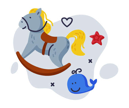 Rocking Horse, Whale Baby Toys Set, Kids Game Various Objects Cartoon Vector Illustration