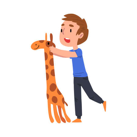 Cute Boy Standing with Giraffe, Adorable Kid Playing with Favorite Toy Cartoon Vector Illustration on White Background