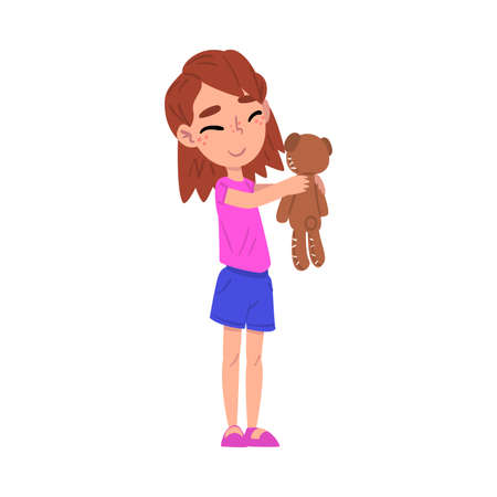 Cute Girl Holding Teddy Bear, Adorable Kid Playing with her Favorite Toy Cartoon Vector Illustration on White Background
