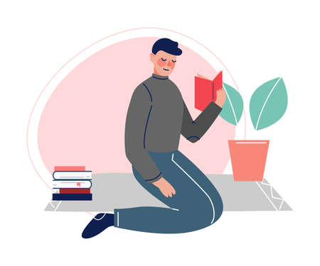 Guy Sitting on the Floor and Reading a Book, Male College or University Student, Young Man Spending Spare Time by Reading Literature Vector Illustration Illustration