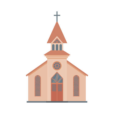 Catholic Church Building, Religious Temple Facade, Ancient Architectural Construction Vector Illustration