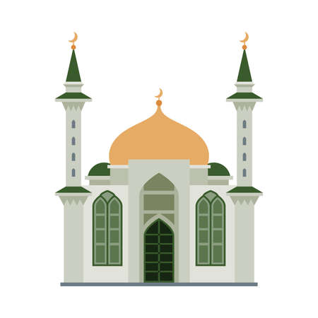 Mosque Building, Islamic Religious Temple, Ancient Architectural Construction Vector Illustration
