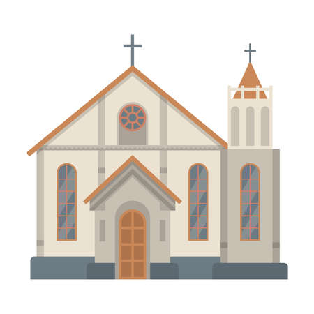 Catholic Church Religious Building, Temple Facade, Ancient Architectural Construction Vector Illustration