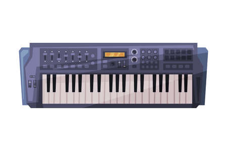 Synthesizer, Electronic Piano Musical Instrument Flat Style Vector Illustration on White Background