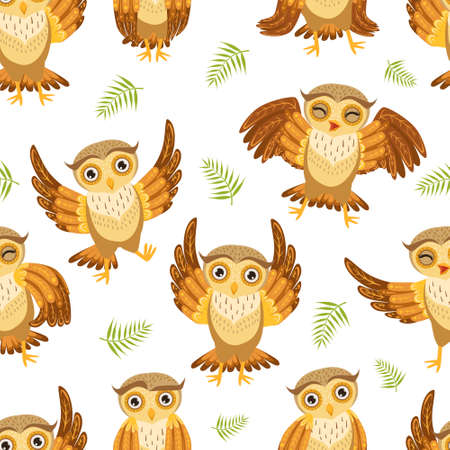 Cute Owlets Seamless Pattern, Adorable Owl Birds Characters, Fabric, Wrapping Paper, Website, Wallpaper, Background Design Cartoon Vector Illustration